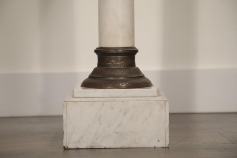 Marble Column Pedestal with Patinated Metal Mounts, circa 1930s For Sale 2