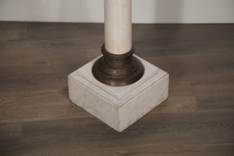 Marble Column Pedestal with Patinated Metal Mounts, circa 1930s For Sale 3