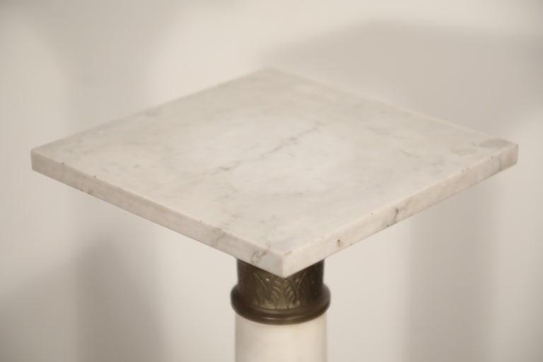 Marble Column Pedestal with Patinated Metal Mounts, circa 1930s For Sale 4