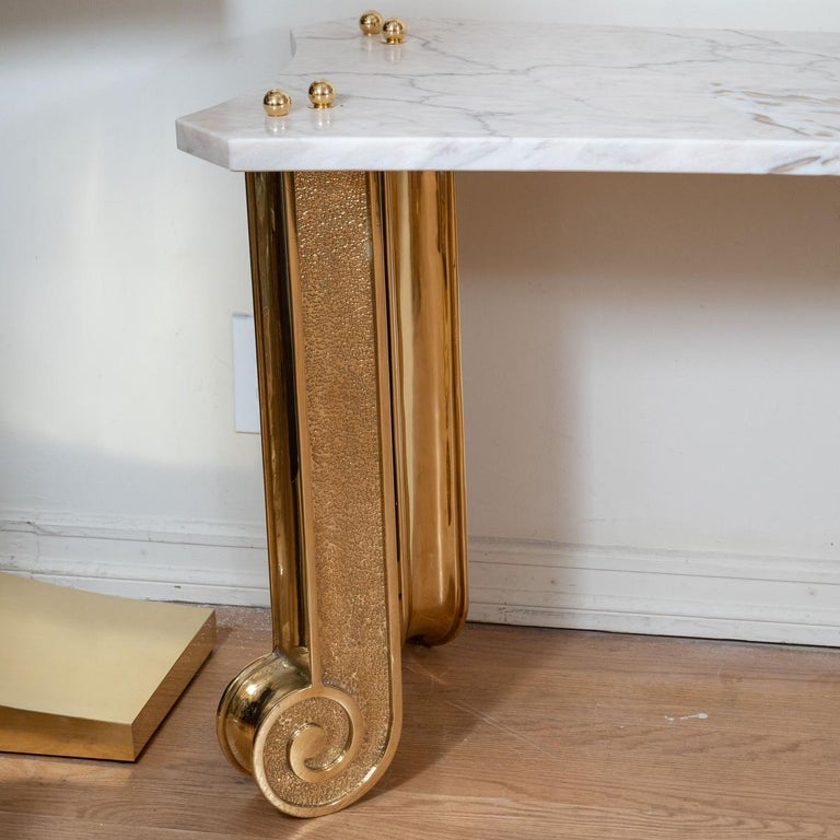 Mid-Century Modern Marble Console with Brass Fluted Legs For Sale