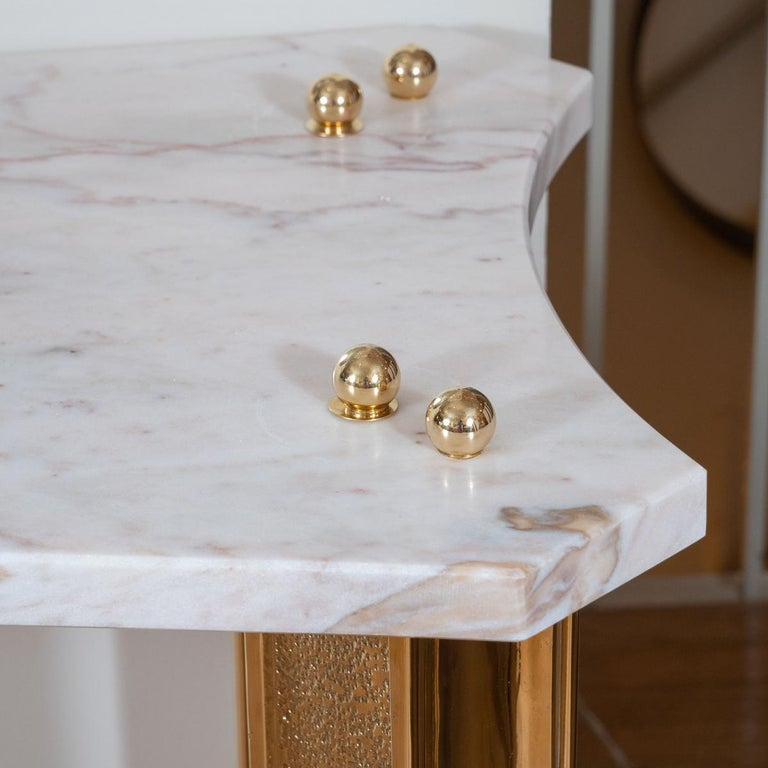 Italian Marble Console with Brass Fluted Legs For Sale