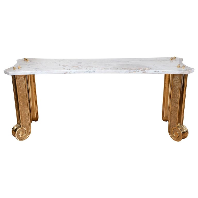 Marble Console with Brass Fluted Legs For Sale