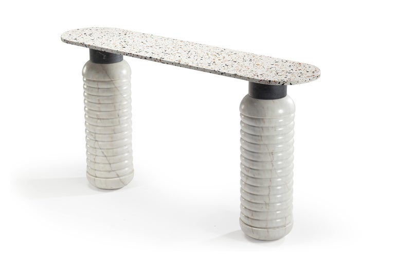 Marble Contemporary Jean Console Table Dimensions: h 80 x w 150 x d 35 cm Materials : top: terrazzo africa, estremoz white matte, extremoz pink matte, nero marquina or verde   guatemala  middle: estremoz white matte, extremoz pink matte or nero