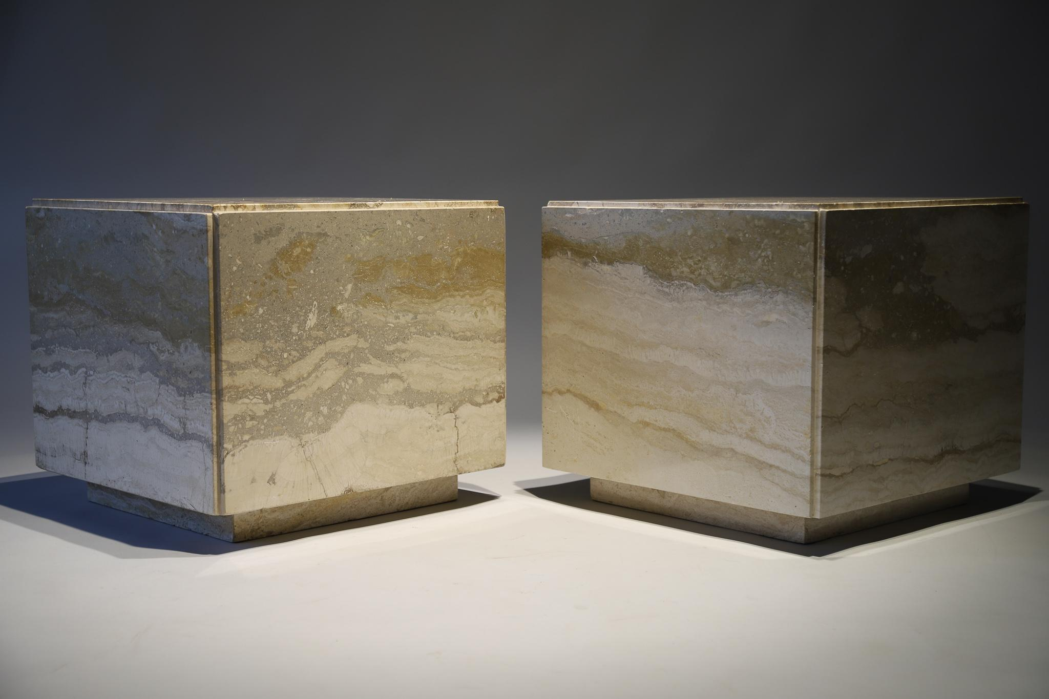 Marble Cube Side Table At 1stdibs