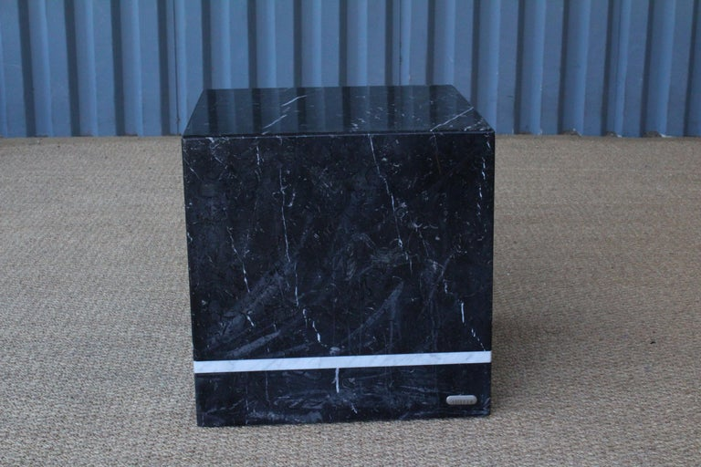 Marble cubed side table by Artedi, Italy, 1980s. Age appropriate surface wear. See photos.