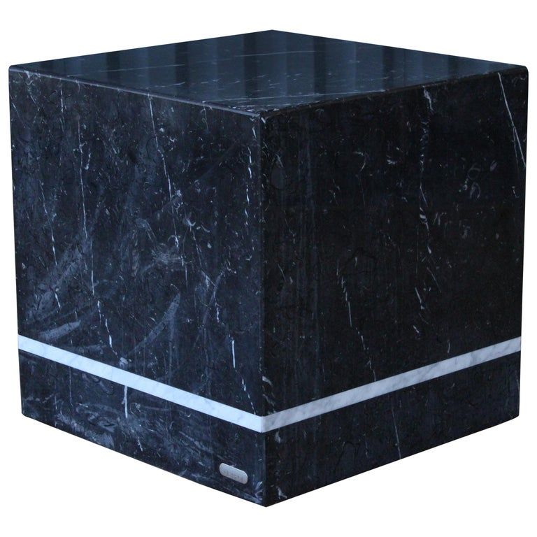 Marble Cubed Side Table by Artedi, Italy, 1980s For Sale