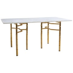 Marble Desk with Brass Legs