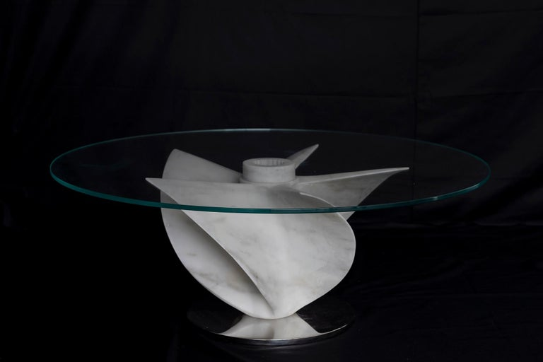 Marble Dining Table in White Carrara Marble with Glass Top In New Condition For Sale In Essex, CT