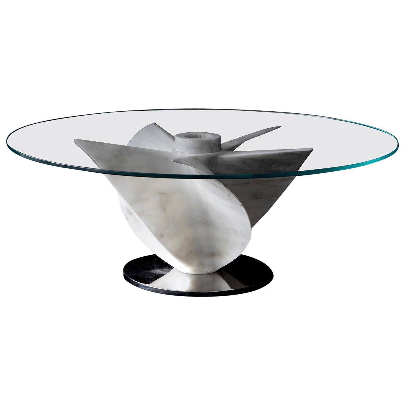 Marble Dining Table in White Carrara Marble with Glass Top