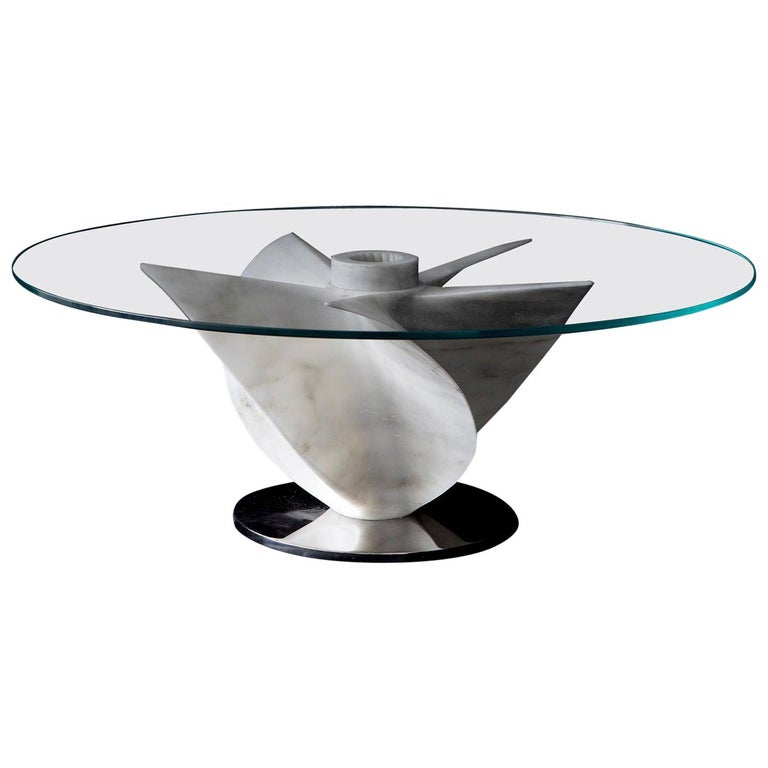 Marble Dining Table in White Carrara Marble with Glass Top For Sale