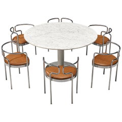 Marble Dining Table with Henning Larsen Dining Chairs 9230 in Cognac Leather