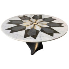 Italian Marble Center Table with Inlayed Diamonds in Brass and Carrara Marble