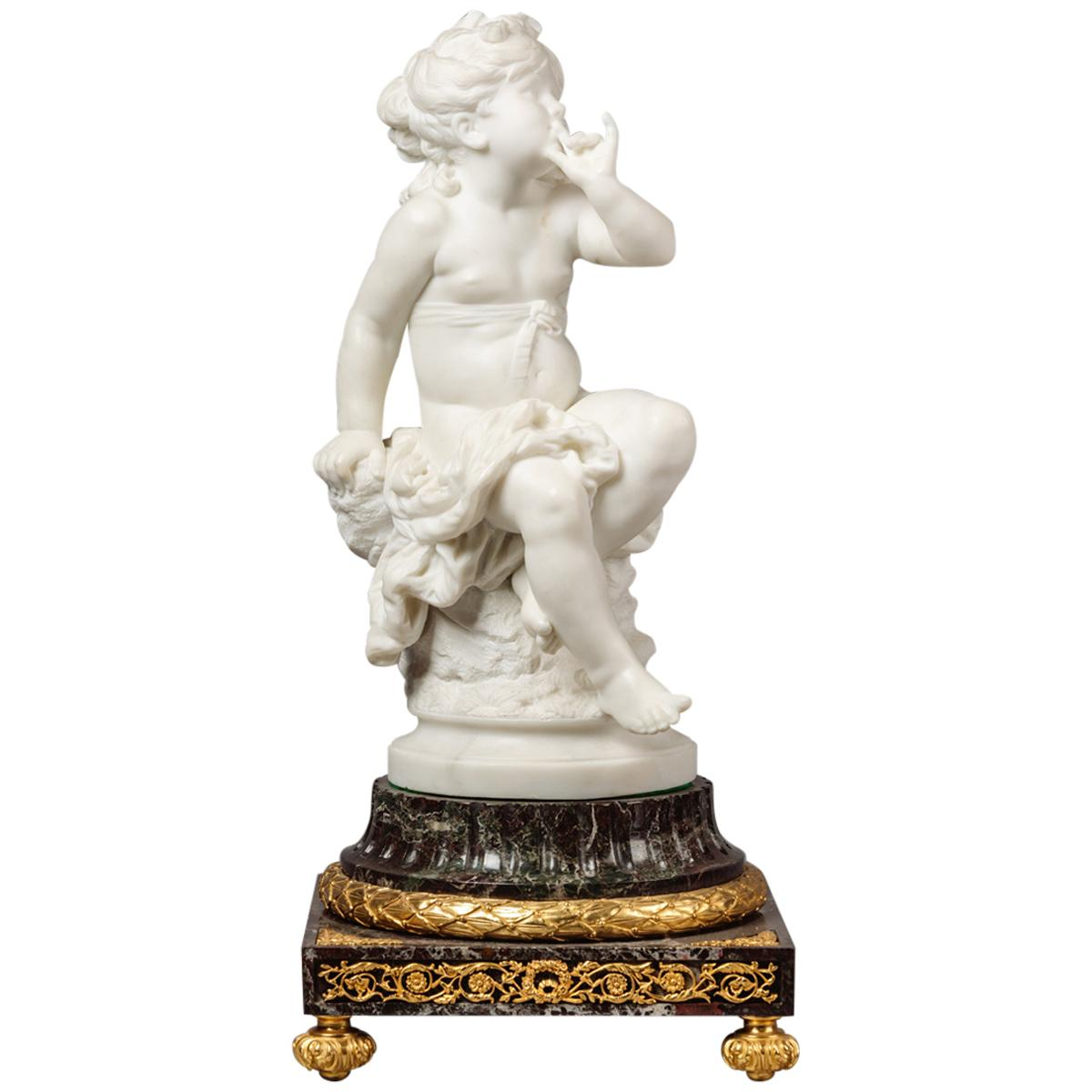Marble Figural Group by Louis Auguste Moreau