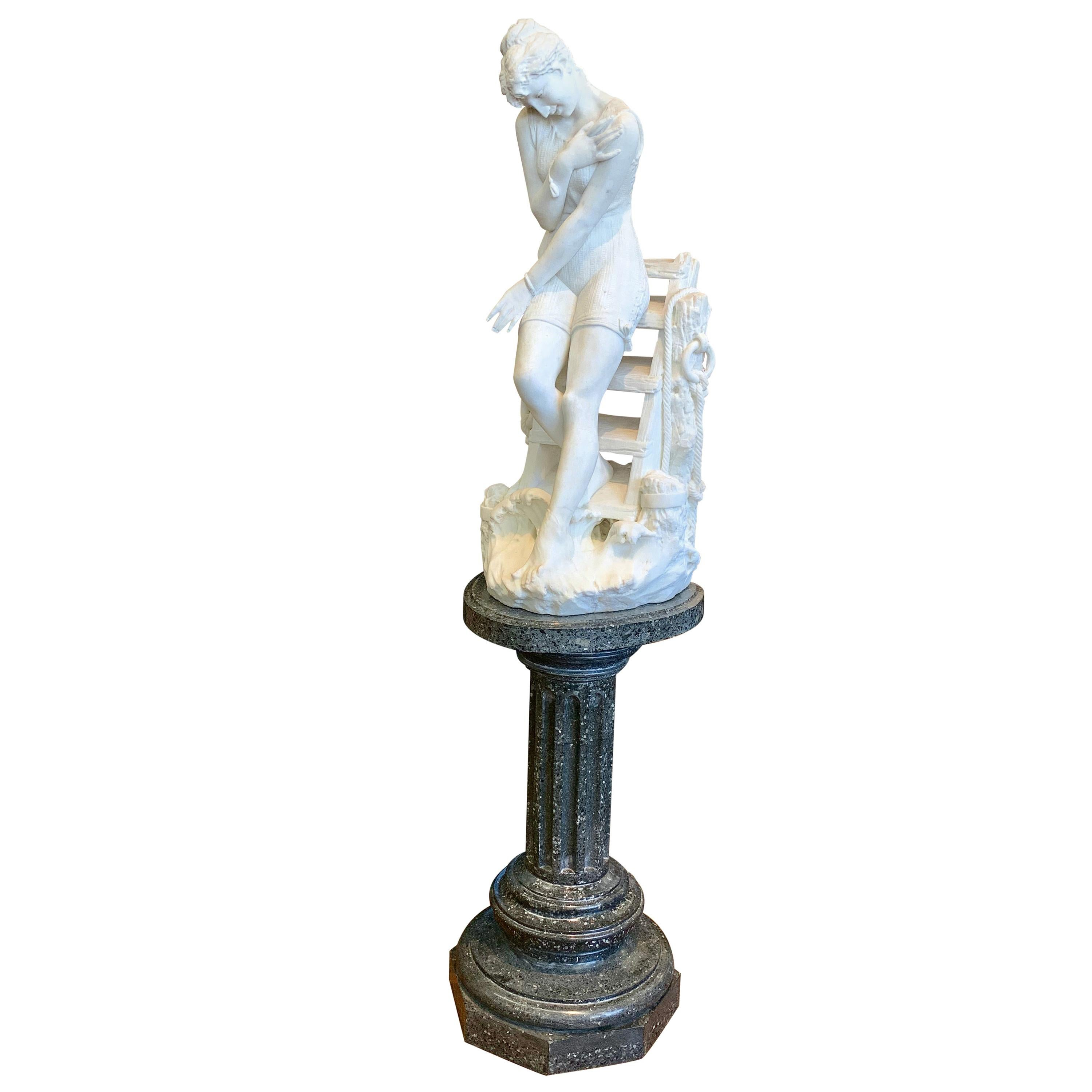 Marble Figure by Emilio Fiaschi, 'Testing The Waters'