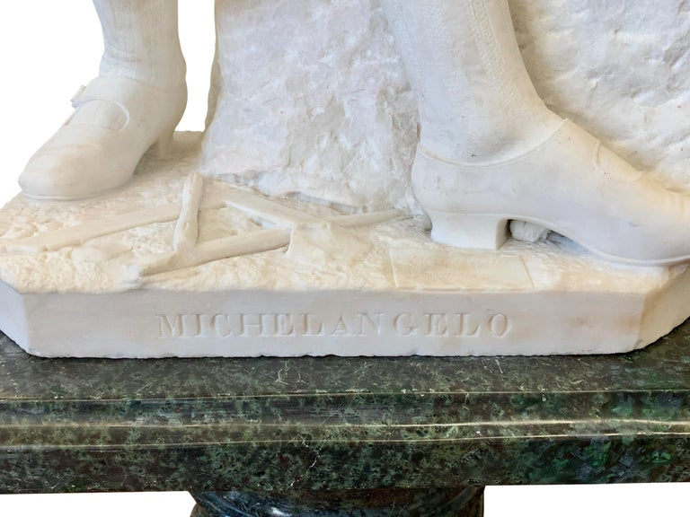 ANTIQUE marble Figure of Michelangelo Carving the Head of Faun For Sale 6