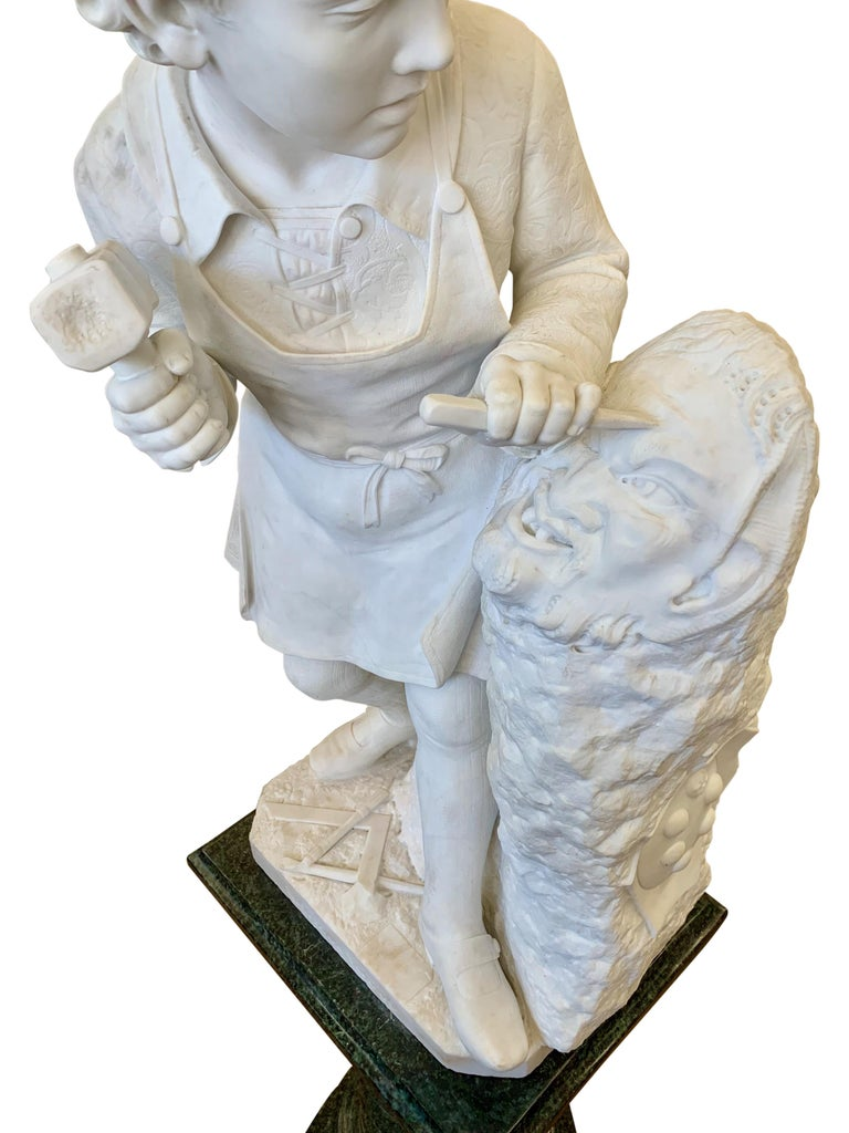 ANTIQUE marble Figure of Michelangelo Carving the Head of Faun For Sale 8