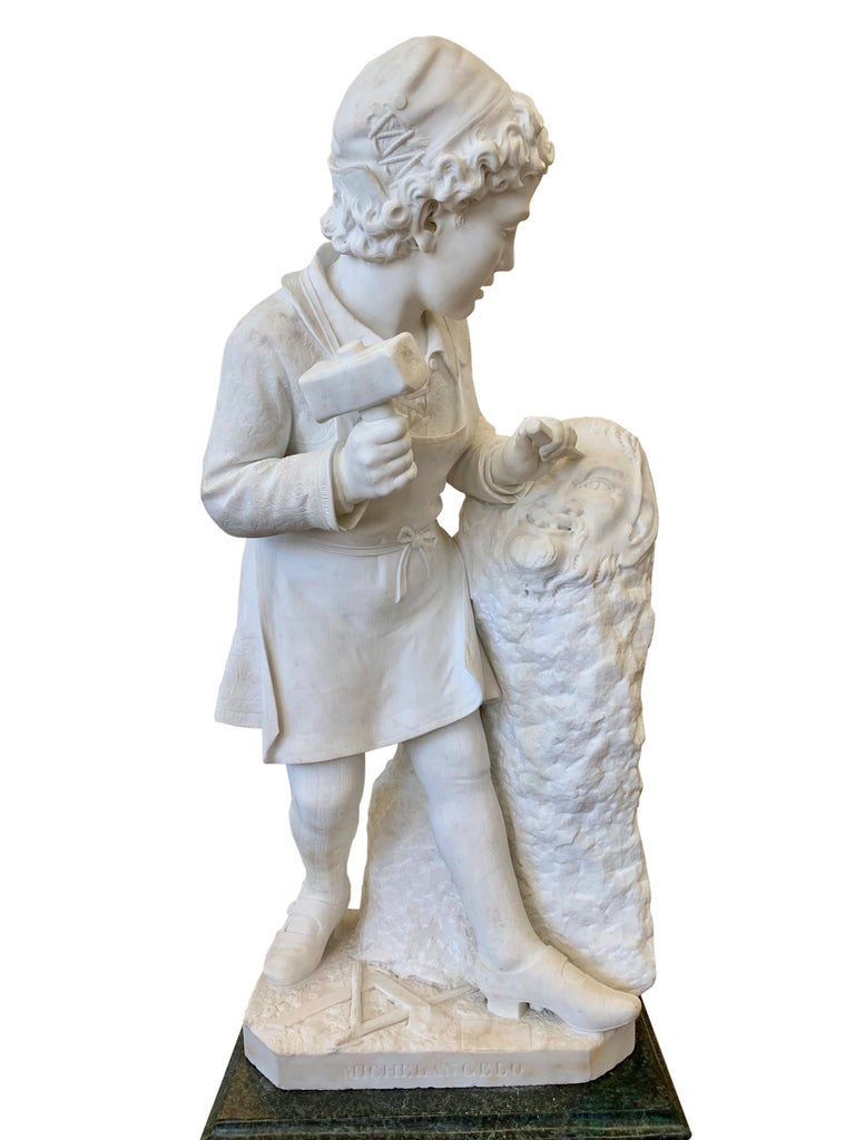 19th Century ANTIQUE marble Figure of Michelangelo Carving the Head of Faun For Sale