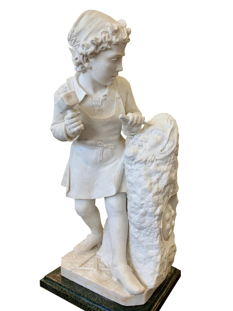 Carrara Marble ANTIQUE marble Figure of Michelangelo Carving the Head of Faun For Sale