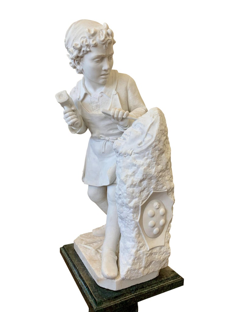 ANTIQUE marble Figure of Michelangelo Carving the Head of Faun For Sale 1