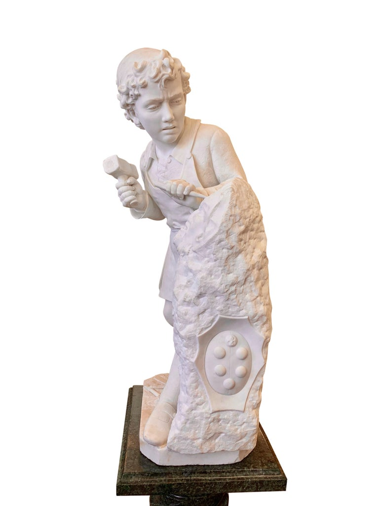 ANTIQUE marble Figure of Michelangelo Carving the Head of Faun For Sale 2