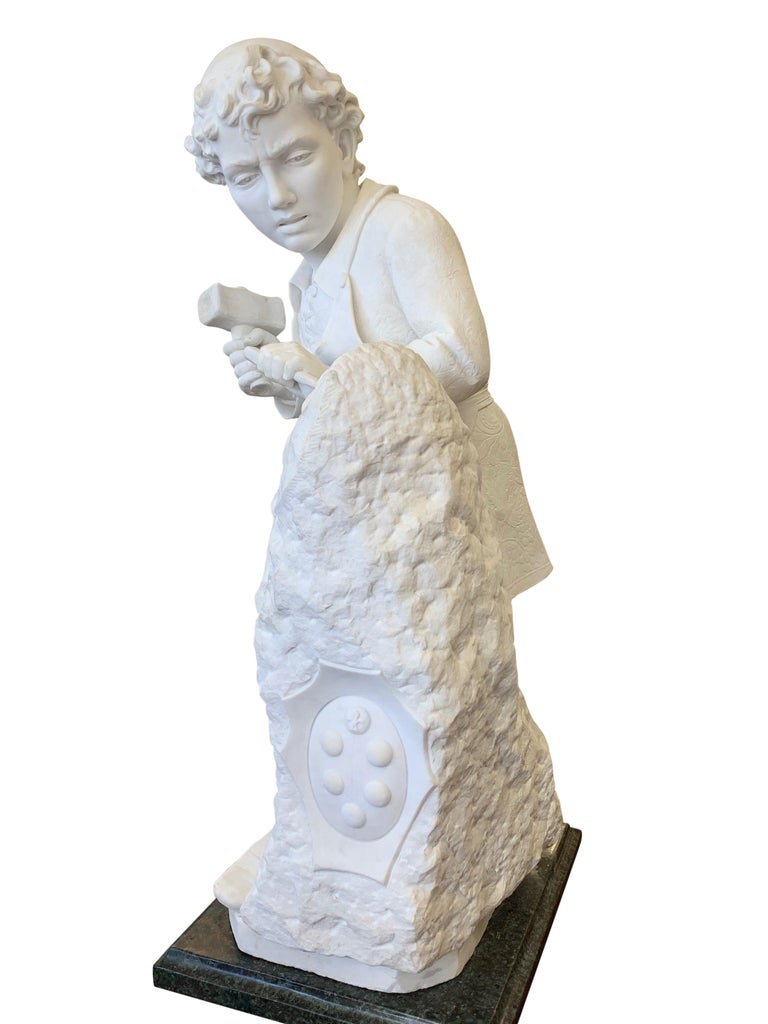 ANTIQUE marble Figure of Michelangelo Carving the Head of Faun For Sale 3