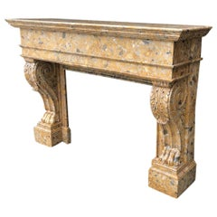 Marble Fireplace Breche d'Alep, 19th Century