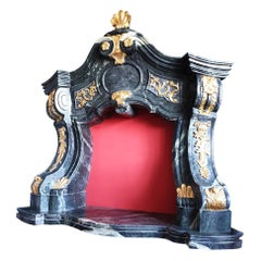 Marble Fireplace Portal in the Style of Mature Baroque, Carved and Gilded