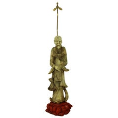Marble Floor Lamp Depicting a Chinese Fisherman