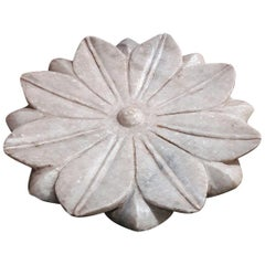 Marble Flower Plate / Vide Poche from India, Mid-20th Century
