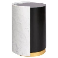 Marble Side Table with Gold Leaf