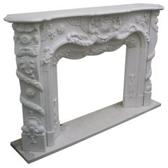 Marble Front Fireplace in Louis XV Style, 20th Century