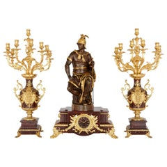 Marble, Gilt, and Patinated Bronze Three-Piece Clock Set by Barbedienne