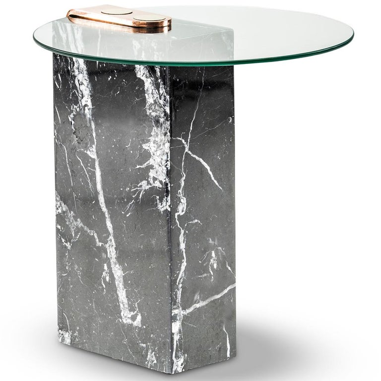 Modern Marble, Glass and Brass Marble Patch Side Table by Egg Designs For Sale