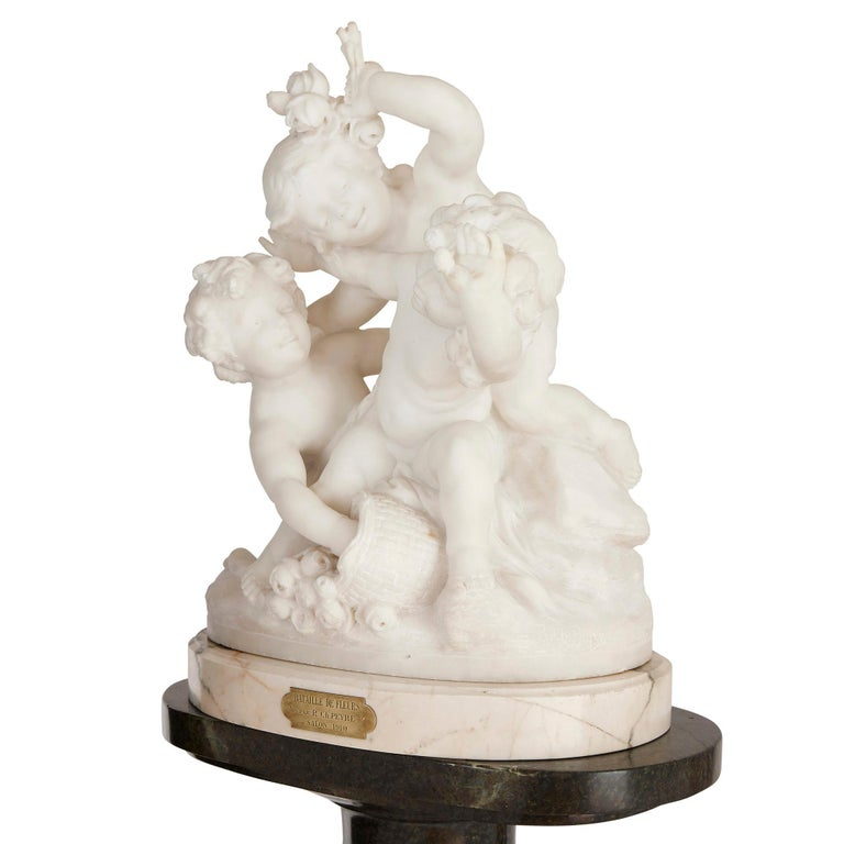 French Marble Group of Putti Battling over Flowers by Charles Raphaël Peyre For Sale