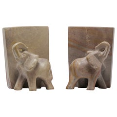 Marble Hand Carved Elephant Sculpture Bookends