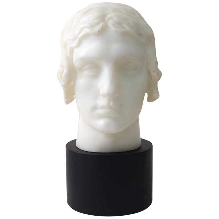 Marble head of a woman, ca. 1920, by Giovanni Nicolini, offered by R. Louis Bofferding