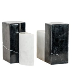 The Marble House Bookends Black and White Carrara Marble, Handmade in Italy
