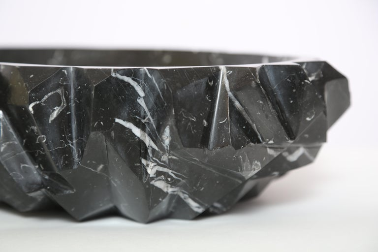 Italian Marble House Rock Bowl in Black Marquina Marble, Handmade in Italy For Sale