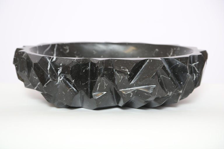 Hand-Crafted Marble House Rock Bowl in Black Marquina Marble, Handmade in Italy For Sale