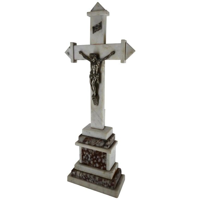 Marble INRI Crucifix, Late 19th Century