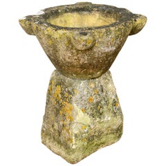 Marble Mortar on Early Stone Plinth, 18th Century