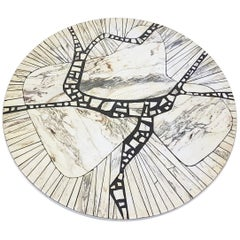 "Marble Mosaic ""Carara"" Round Coffee Table by Heinz Lilienthal, Germany, 1970s"