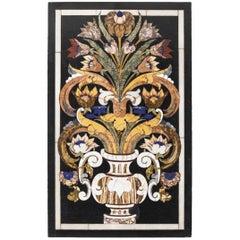 Marble Mosaic Plate Pietra-Dura Renaissance Style, Semi-Precious Stones, Italy