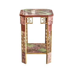 Marble, Onyx, and Gilt-Bronze Side Table, French, circa 1925