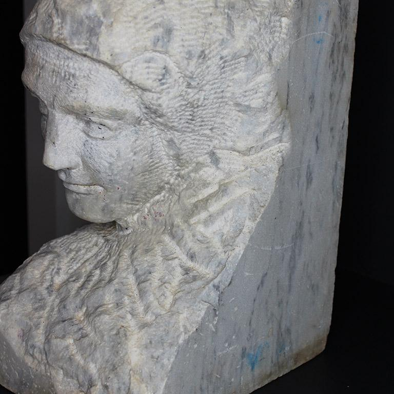 Classical Greek Marble or Alabaster Carved Figural Bust or Statue of a Woman, 19th Century For Sale
