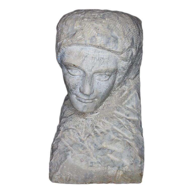 Marble or Alabaster Carved Figural Bust or Statue of a Woman, 19th Century For Sale