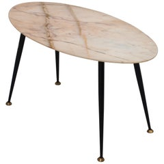 Marble Oval Side Table in Metal and Brass, Italy, 1960s