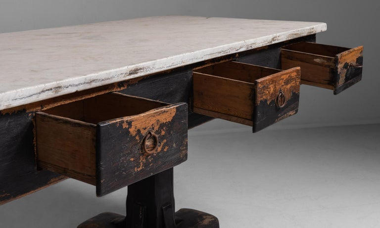 French Marble and Painted Wood Console from a Convent, France, circa 1960 For Sale