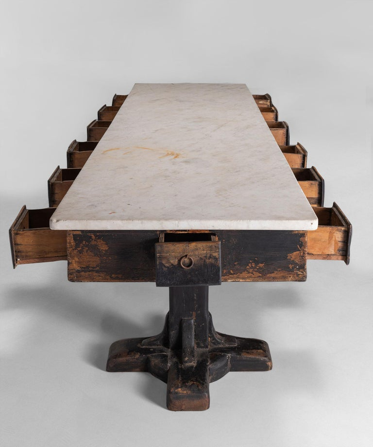 Marble and Painted Wood Console from a Convent, France, circa 1960 In Good Condition For Sale In Culver City, CA