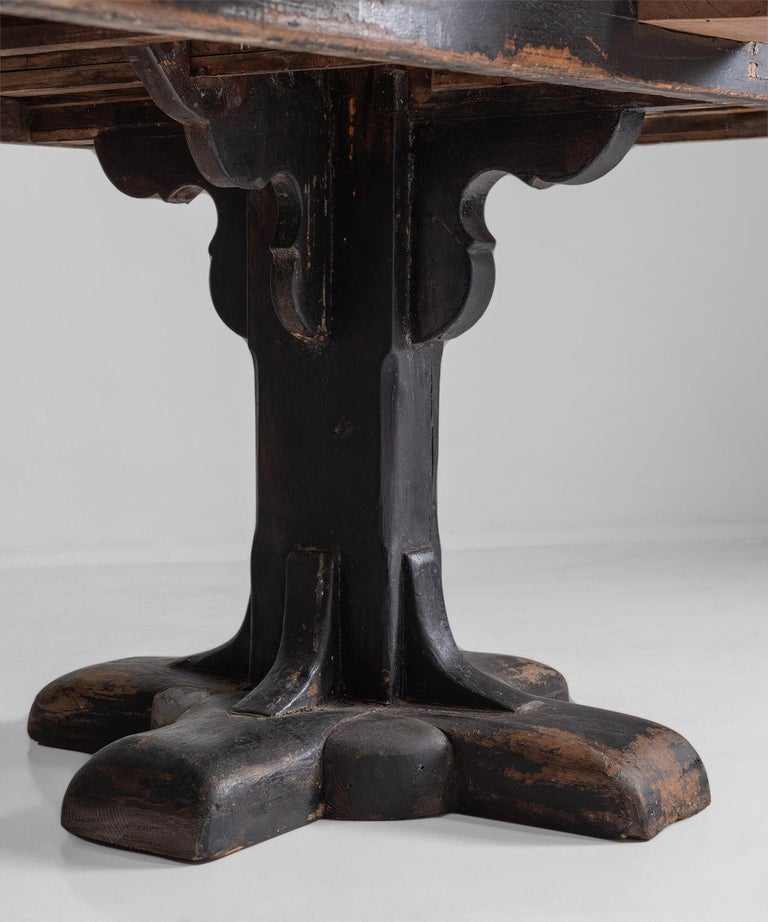 Marble and Painted Wood Console from a Convent, France, circa 1960 For Sale 2
